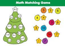 Bildande lek för matematik för barn Matcha matematikaktivitet Räkna leken för ungar, tillägg Nytt år julferier stock illustrationer