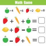 Bildande lek för matematik för barn Matematiska räknande likställande royaltyfri illustrationer