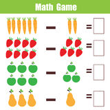Bildande lek för matematik för barn, subtraktionsmatematikarbetssedel stock illustrationer