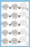 Bildande räknande lek för matematik för barn, tilläggsarbetssedel vektor illustrationer