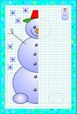 Bildande sida för små barn på fyrkantigt papper Behöv dra den andra delen av den gulliga snögubben Framkallning behandla som ett  royaltyfri fotografi