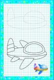 Bildande sida för små barn på fyrkantigt papper Behöv dra och måla det gulliga flygplanet vid kopian Framkallning behandla som et arkivfoto