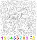 Bildande sida för unga barn Finna numren som döljas i bilden och, måla dem Logikpussellek Royaltyfria Bilder