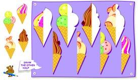 Bildande sida för ungar Behöv finna och måla i andra hand delar av glassar Framkallande barnexpertis för att dra och att färga Stock Illustrationer