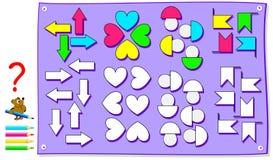 Bildande sida för ungar Behov korrekt att måla diagramen motsvarande riktning Framkallande expertis för att räkna och att dra Royaltyfri Illustrationer