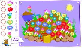 Bildande sida för ungar Hur många gånger kan du finna varje av växten i vårrabatt? Räkna antalet och skriv numret Royaltyfri Illustrationer