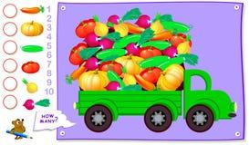 Bildande sida för ungar Hur många stycken av varje grönsak kan du finna i lastbilen? Räkna antalet och skriv numren arkivbilder