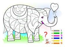 Bildande sida med övningar för barn på tillägg och subtraktion Behov att lösa exempel och att måla elefanten Royaltyfri Bild