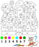 Bildande sida med övningar för barn på tillägg och subtraktion Behov att lösa exempel och att måla bilden i relevan Arkivbilder