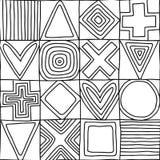 Bildar den sömlösa modellen för den geometriska vektorn med den drog olika geometriska handen Fyrkant triangel, rektangel, pricka stock illustrationer