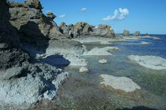bildar geologiska gotland sweden arkivfoton