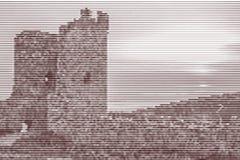 Bildcollage av fördärvar av den forntida fästningen på solnedgången för royaltyfri illustrationer
