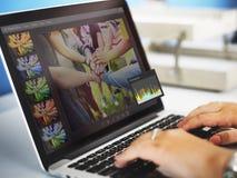 Bildeditor Histogram Setting Concept Stockfoto