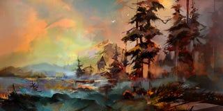 Bilden är ljus, och det blåsiga landskapet med sörjer träd och hus Arkivbilder