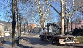 Bilden av bilbärgningsbilen som parkeras på den tomma vägen med sikt av, parkerar och byggnader Royaltyfria Bilder
