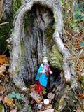 Bilden av den lilla heliga Mary statyn, satte in i en gammal stam för att tillbe royaltyfria foton