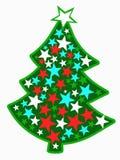 Bilden av den ljusa julgranen med stjärnor Arkivfoto