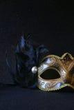 Bilden av den svarta eleganta venetian maskeringen blänker på bakgrund Royaltyfri Fotografi