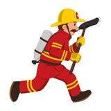 Bilden av en brandmanspring med en handyxa Arkivfoton