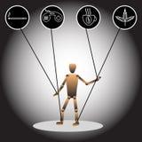 Bilden av en docka och symboler som symboliserar beroenden också vektor för coreldrawillustration royaltyfri illustrationer