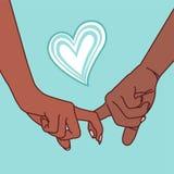 Bilden av händerna av ett ungt par gripa in i varandra med pekfingrar och hjärta vektor illustrationer