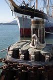 Bilden av seglar fartyget på skeppsdockan i San Francisco Arkivfoton