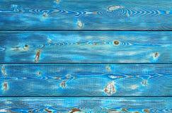 Bilden av träbakgrund för gropig tappning som målas med blått, målar Royaltyfria Foton