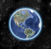 Bilden av världen som beskådas från yttre rymd vektor illustrationer