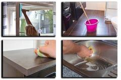 Bilden delas in i 4 avsnitt om hushållsarbete royaltyfria foton