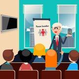 bilden för ledare 3d framförde laget 3d business dimensional presentation render shape three samtal för möte för bärbar dator för Royaltyfria Bilder