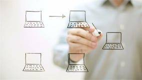 bilden för nätverket 3d framförde samkväm en man drar ett socialt nätverk lager videofilmer