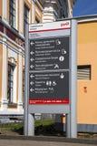 bilden för riktningen 3d framförde tecknet Savelovsky järnvägsstation i Moskva, Ryssland Fotografering för Bildbyråer