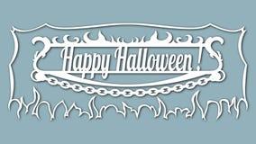 Bilden med inskriften - lyckliga halloween Mall med vektorillustrationen För laser-klipp plottar- och silkscreenpri stock illustrationer