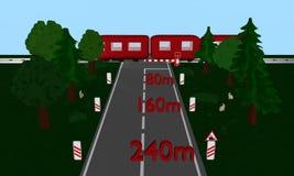 Bilden Sie Überfahrt mit Zug, Andreaskreuz und Verkehrsschild, Auto, Baum aus stock abbildung