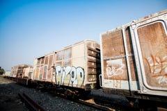 Bilden Sie Blockwagen, Teile des Fracht Railcar aus Lizenzfreie Stockfotografie