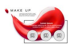 Bilden Sie Designfliegerschablone für kosmetischen Künstler, Make-upstudio, oder Kosmetik kaufen Lippenstiftfleck Standorttitel vektor abbildung