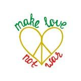 Bilden Sie Liebe, nicht Krieg Inspirierend Zitat über Frieden Lizenzfreies Stockfoto