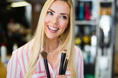 Bilden Sie, Schönheitsfrauengesicht, Bürsten, Porträt des attraktiven jungen Mädchens Lizenzfreie Stockfotos