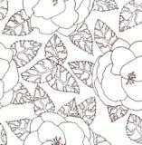 Bilden Sie sich freihändig gezeichnet zum Blumendruck mit Kamelien Lizenzfreies Stockfoto
