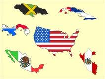 Bilden ställde in av översikter och flaggor av länder av Americasna royaltyfri illustrationer
