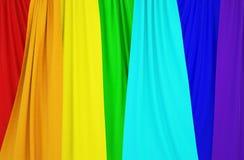 Bilder av gardiner med färger av regnbågen royaltyfri illustrationer