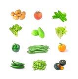 Bilder av olika slag av grönsaker med vit bakgrund royaltyfri foto