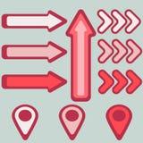 bilder av pilar och pekare i rött stock illustrationer