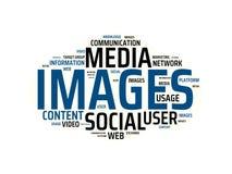 BILDER - Bild mit den Wörtern verbunden mit dem Thema SOCIAL MEDIA, Wort, Bild, Illustration stock abbildung