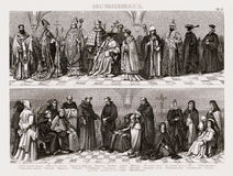 1874 Bilder Costume Print of Catholic Clergy and Sacred Church Orders Stock Photos