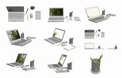 Bilder 3D CAD der Laptop-Computers, der Maus, des Notizblockes, des Topfes, des Stiftes und des Bleistifts Lizenzfreies Stockbild