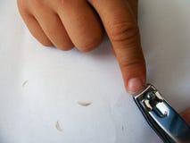 Bilder der Nagelreinigung und des Nagelausschnitts Lizenzfreie Stockfotos