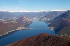 Bilder des Golfs von Lugano-Stadt Stockbild