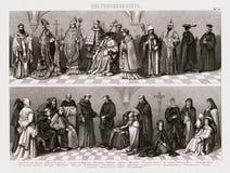 Bilder dräkttryck 1874 av katolska prästerskap och sakrala kyrkliga beställningar Arkivfoton
