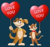 bilder för bakgrund 3d isolerade förälskelsewhite dig Roliga ballonger för form för hjärta för för tecknad filmhund och katt håll Royaltyfri Bild